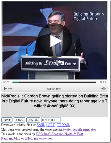 Gordon Brown's Building Britain's Digital Future announcement with twitter subtitles