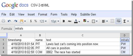 Google Spreadsheet of csv