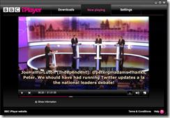Screenshot of BBC iPlayer with twitter subtitles