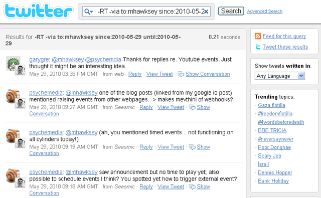 Using Yahoo Pipes to generate a Twitter 'out of office' messaging service
