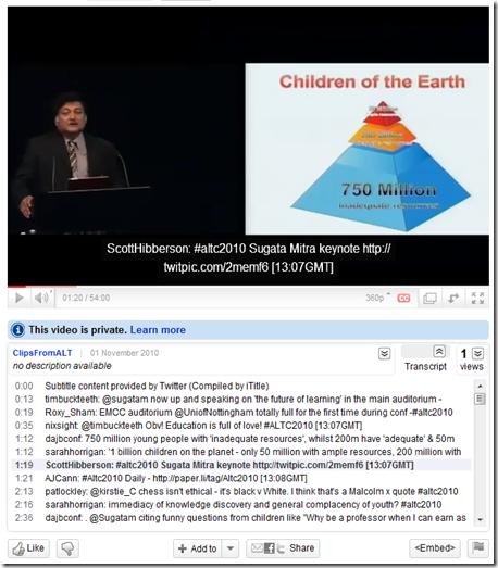 Screenshot on YouTube showing subtitle navigation