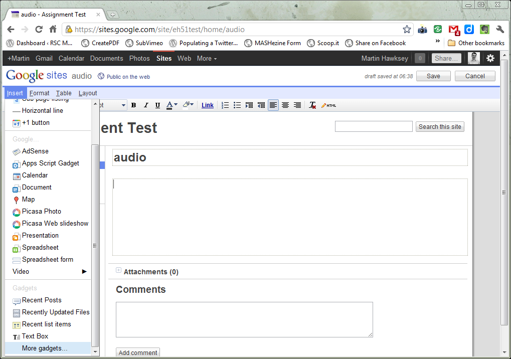 Embedding .mp3 audio files into Google Sites