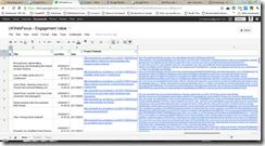 Google Spreadsheet showing link data for each post