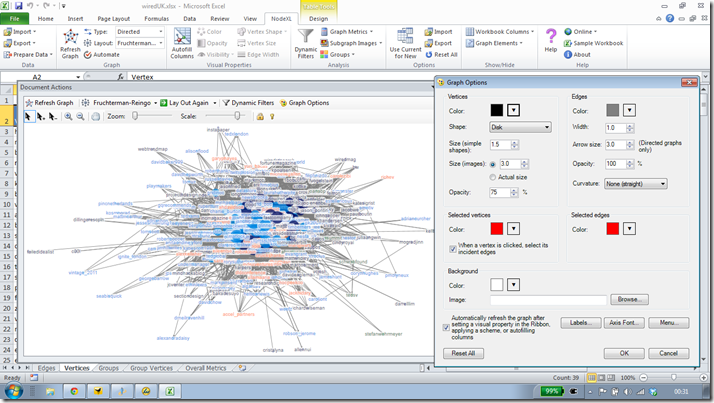 NodeXL - graph options
