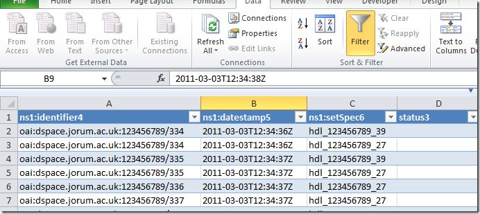 Excel XML data imported