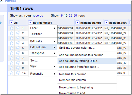 Google Refine - add data from column