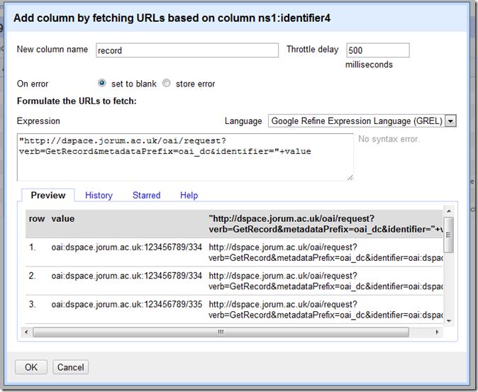 Google Refine - Add column by fetching URL
