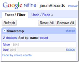 Google Refine Facet/Filter