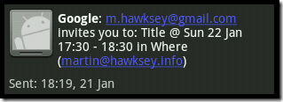 Example SMS notification