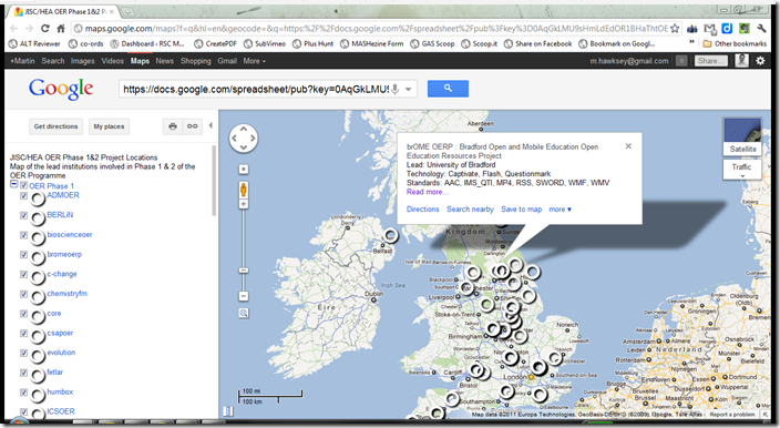 OER Phase 1 & 2 in Google Maps