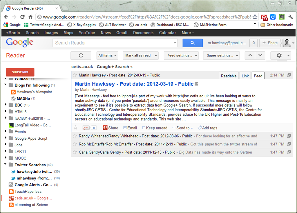Turning Google+ Search results into a RSS feed (for Google