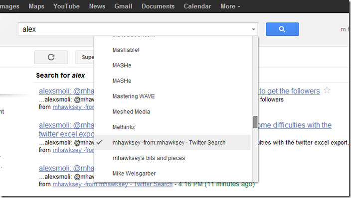 Google Reader search tweets