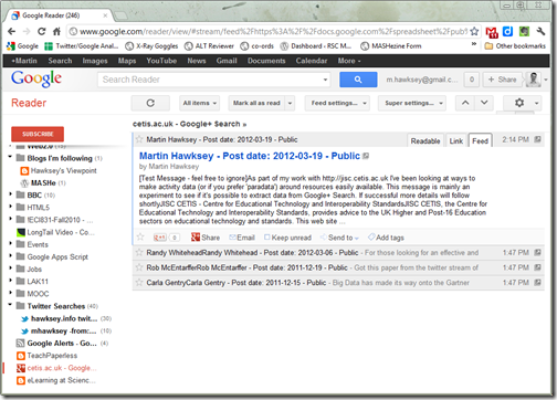 Google+ Search in Google Reader
