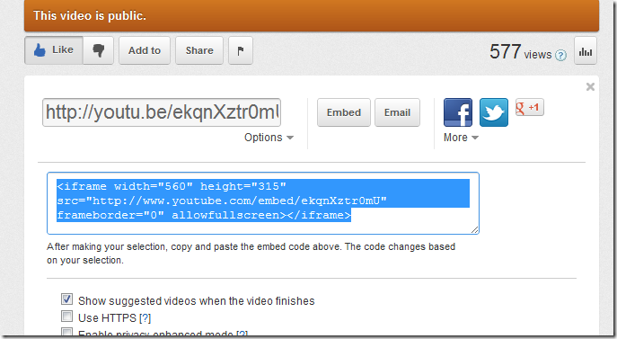 Existing YouTube embed code