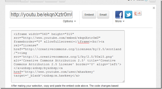 Proposed YouTube embed code