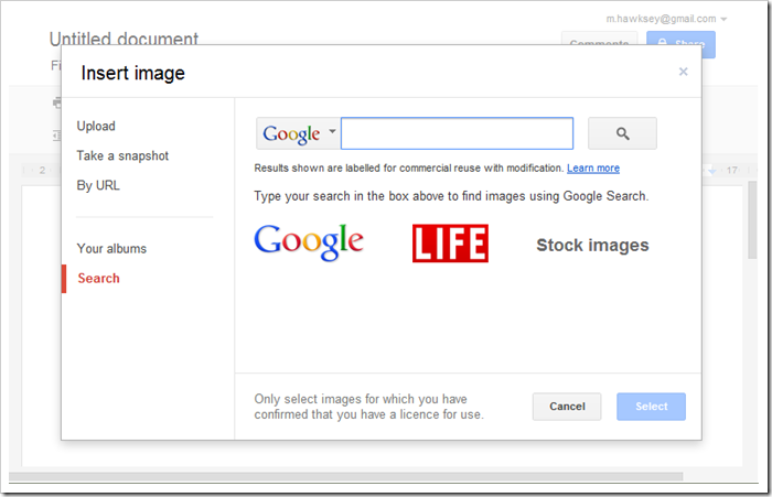 Google Docs defaults to searching for Creative Commons licensed images. Great, but could they do better?
