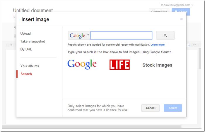 Insert image in Google Docs