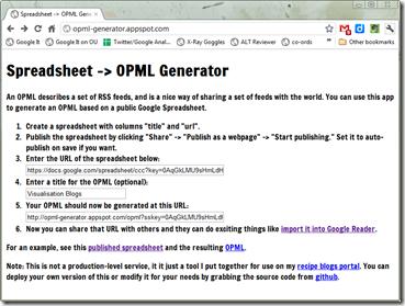 Spreadsheet -> OPML Generator