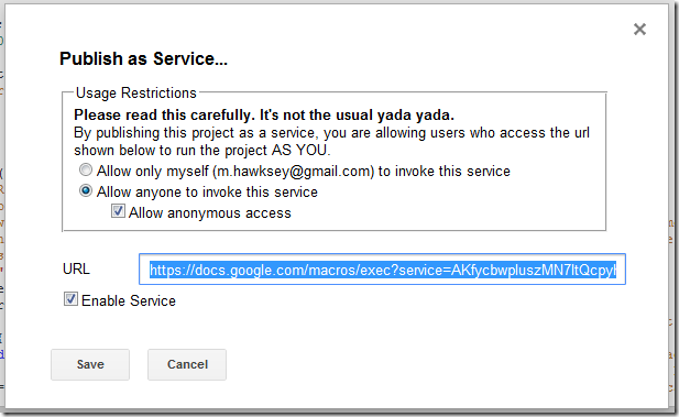 publish as service window