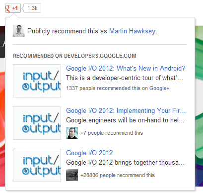 Google I/O 2012 Notes: Google+ platform basics of +1, share and recommendations