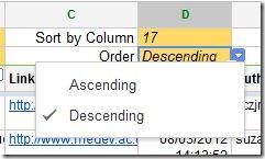 Sort order selection