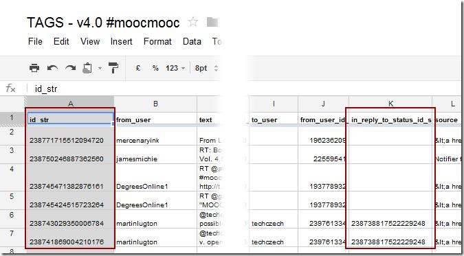 Google Spreadsheet columns