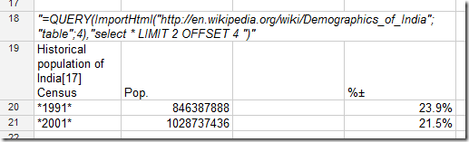 """=QUERY(ImportHtml(""http://en.wikipedia.org/wiki/Demographics_of_India""; ""table"";4),""SELECT * LIMIT 2 OFFSET 4 "")"""