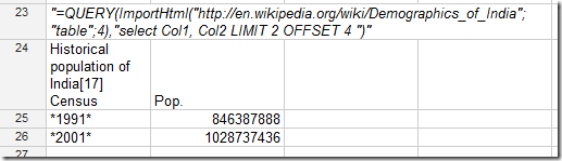 """=QUERY(ImportHtml(""http://en.wikipedia.org/wiki/Demographics_of_India""; ""table"";4),""SELECT Col1, Col2 LIMIT 2 OFFSET 4 "")"""