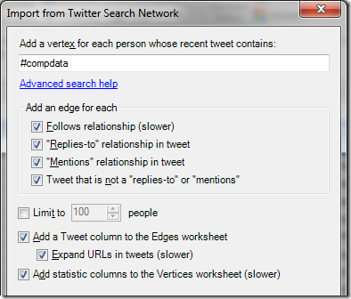 Twitter Search Import from NodeXL