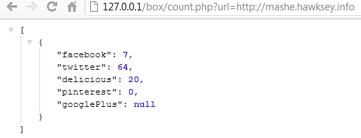 PHP code to bulk collect social share counts from Facebook, Twitter, Delicious, Pinterest and Google +1s and return json