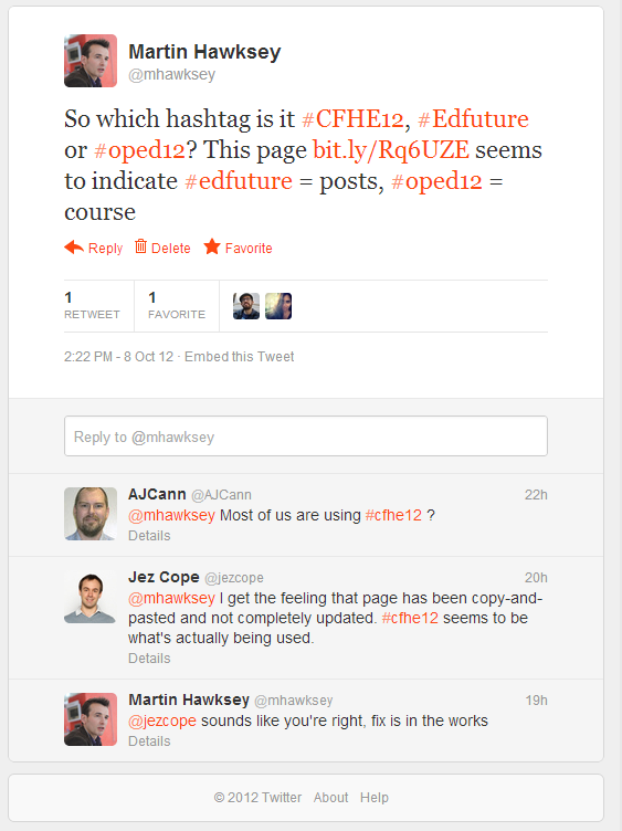 Any Questions? Filtering a Twitter hashtag community for questions and responses [situational awareness] #CFHE12