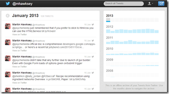 Twitter archive in Google Drive
