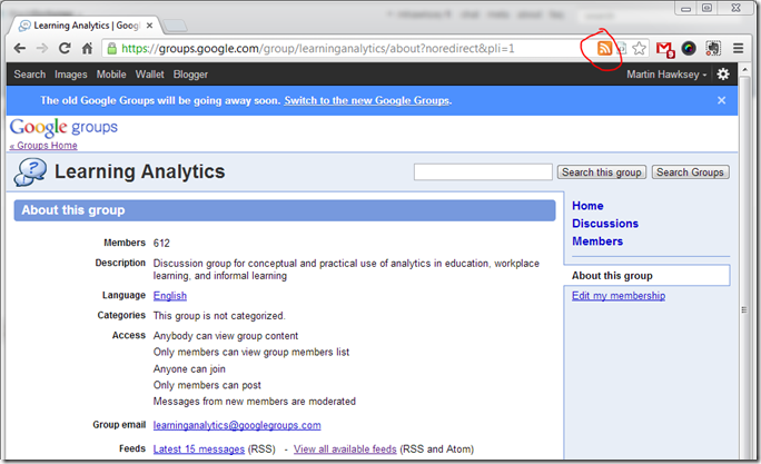 Google Groups Old Interface with Feeds