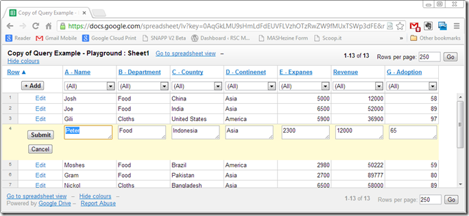Edit row in List View