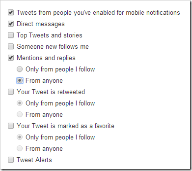 Click for your Twitter Device Settings