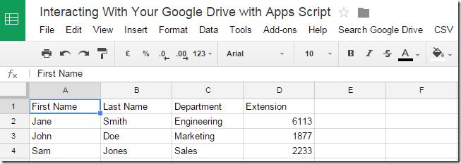 Test data in Google Sheet