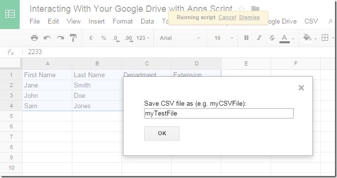 Running Save as CSV file