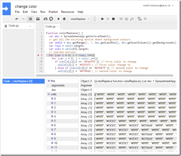 debugger to inspect cell colours