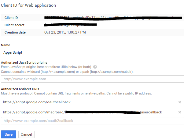 Setting up OAuth2 access with Google Apps Script: Blogger API
