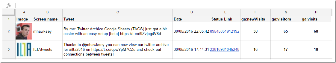 example sheet with the top 10 tweets that have generated the most new visits in the last 7 days