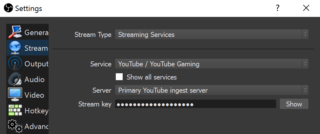 OBS Stream Selection