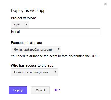 Publish > Deploy as web app