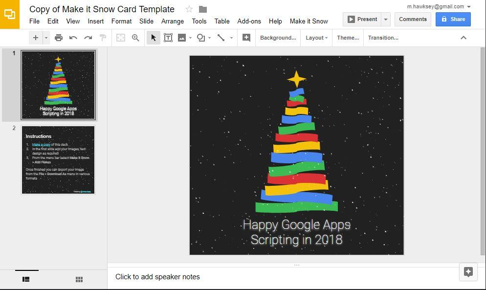 Make it snow in Google Slides