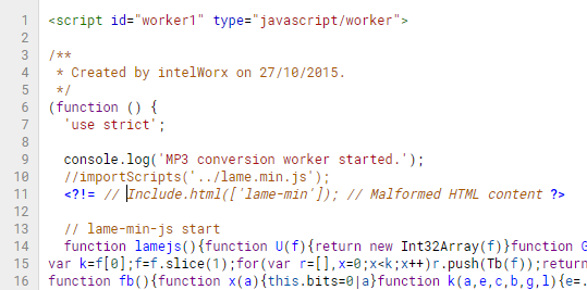 Including lame-min.js in the worker-realtime.js