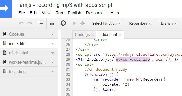 Including files in mic.html