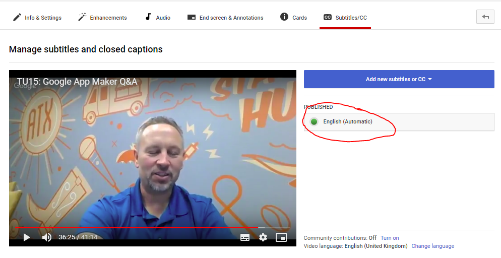 Using your YouTube subtitles file and Google Sheets to make a video