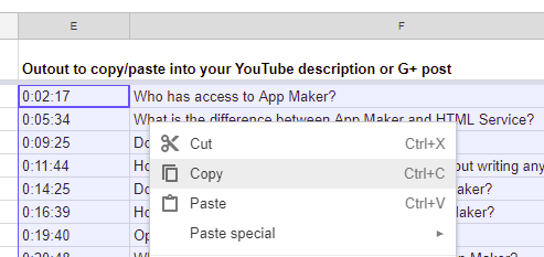 Using your YouTube subtitles file and Google Sheets to make