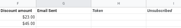 Additional columns - token and unsubscribe