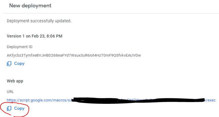 Copy web app url